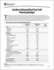 Southern Missouri Beef Cow-Calf Planning Budget