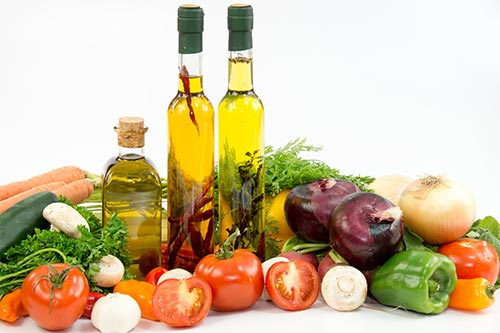 Olive oils, herbs and vegetables