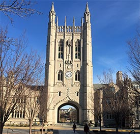 Memorial Union on MU campus with blue sky