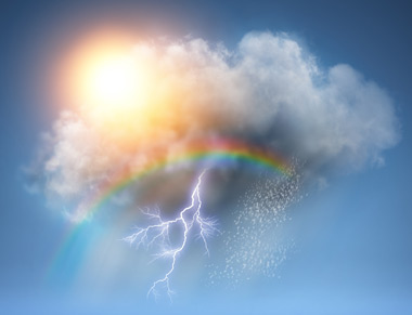 Cloud with lightening, rainbow and sun shining through