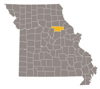 Missouri map with Audrain county highlighted