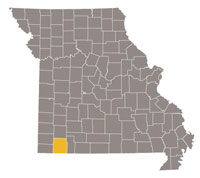 Missouri map with Barry county highlighted