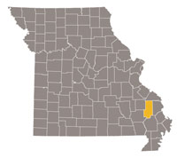 Missouri map with Bollinger county highlighted