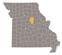 Missouri map with Boone county highlighted