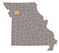 Missouri map with Caldwell county highlighted