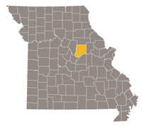 Missouri map with Callaway county highlighted