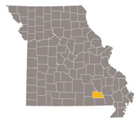 Missouri map with Carter county highlighted