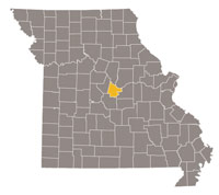 Missouri map with Cole county highlighted
