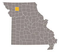 Missouri map with Daviess county highlighted