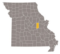 Missouri map with Gasconade county highlighted