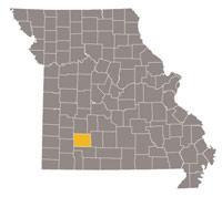 Missouri map with Greene county highlighted