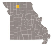 Missouri map with Grundy county highlighted