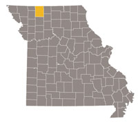 Missouri map with Harrison county highlighted