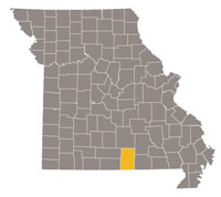 Missouri map with Howell county highlighted