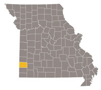 Missouri map with Jasper County highlighted.