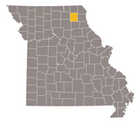 Missouri map with Knox county highlighted