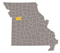 Missouri map with Lafayette county highlighted