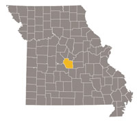 Missouri map with Miller County highlighted.
