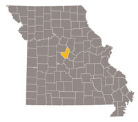 Missouri map with Moniteau County highlighted.