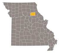 Missouri map with Monroe County highlighted.