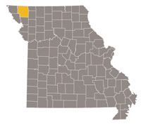 Missouri map with Nodaway County highlighted.