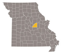 Missouri map with Osage county highlighted