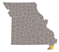 Missouri map with Pemiscot county highlighted