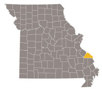Missouri map with Perry county highlighted