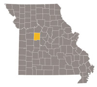 Missouri map with Pettis county highlighted