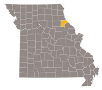 Missouri map with Ralls county highlighted