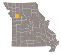 Missouri map with Ray county highlighted