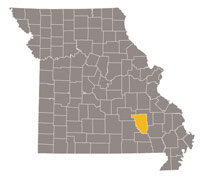 Missouri map with Reynolds county highlighted