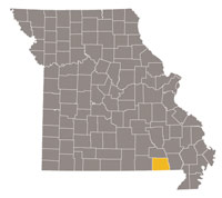 Missouri map with Ripley County highlighted.