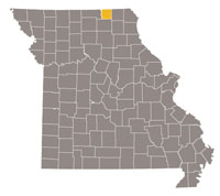 Missouri map with Schuyler county highlighted