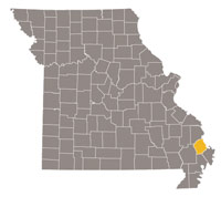 Missouri map with Scott county highlighted