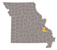 Missouri map with St. Francois county highlighted