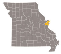 Missouri map with St. Louis county highlighted