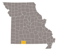 Missouri map with Taney county highlighted