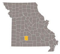 Missouri map with Webster county highlighted