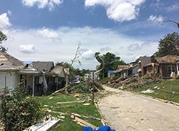 Tornado debris and damage in Jefferson City, Missouri