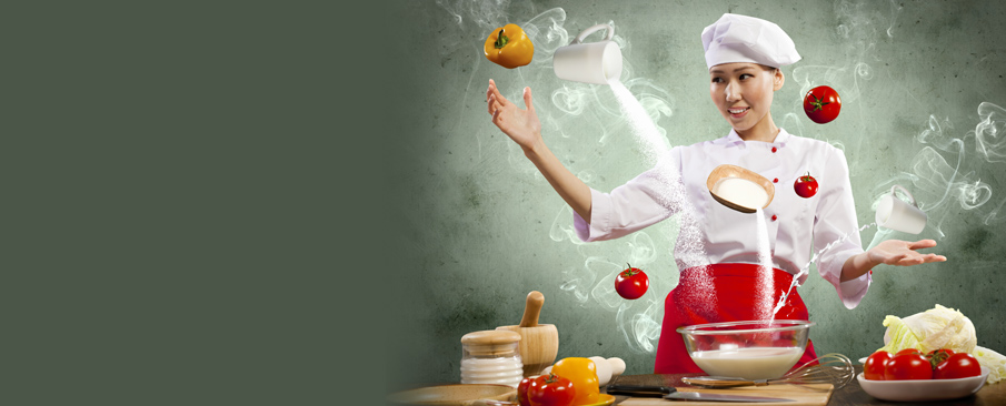 Female chef performing cooking magic