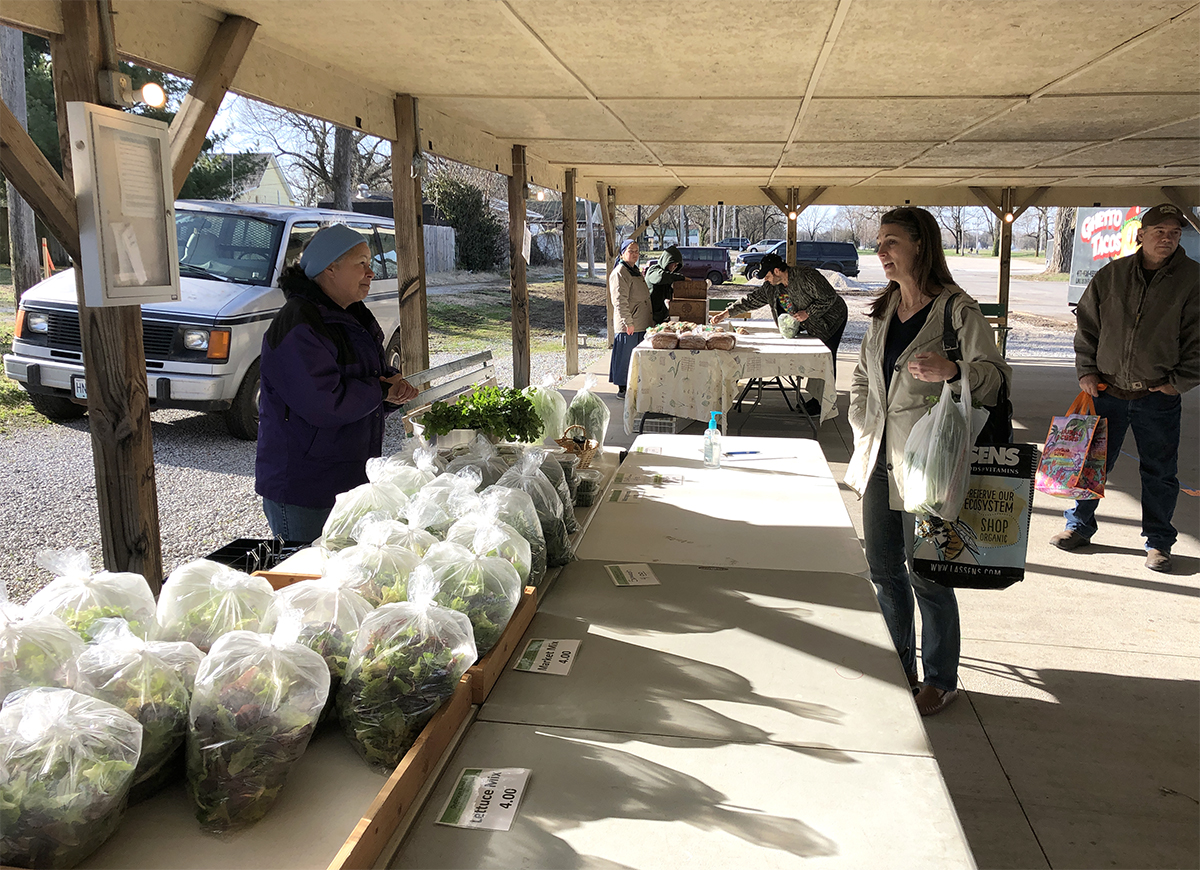 Vendors and buyers practice safe social distancing. An extra row of tables keeps them apart, as do market guidelines that discourage the usual friendly chitchat. Photo courtesy of the Webb City Sentinel.