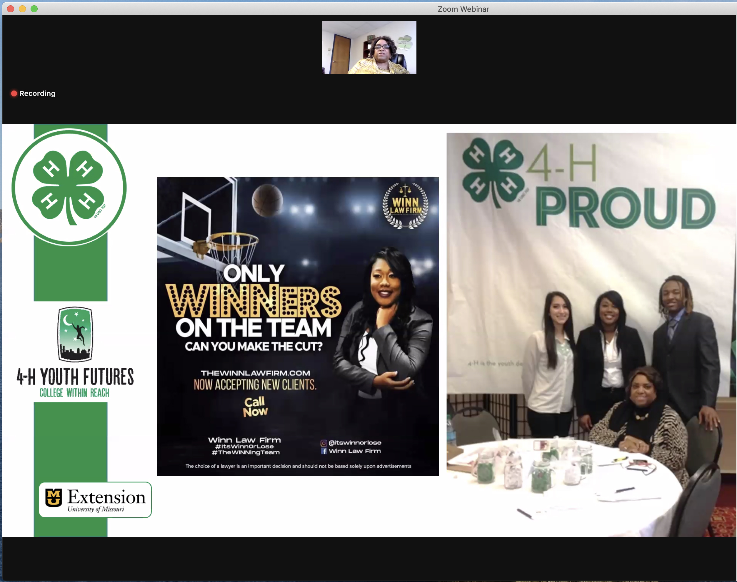 Donna Garcia, top, during the Oct. 28 virtual presentation of the National Extension Diversity Award. Columbia attorney Robin Winn, bottom left, was an early participant in Missouri 4-H's Youth Futures program.
