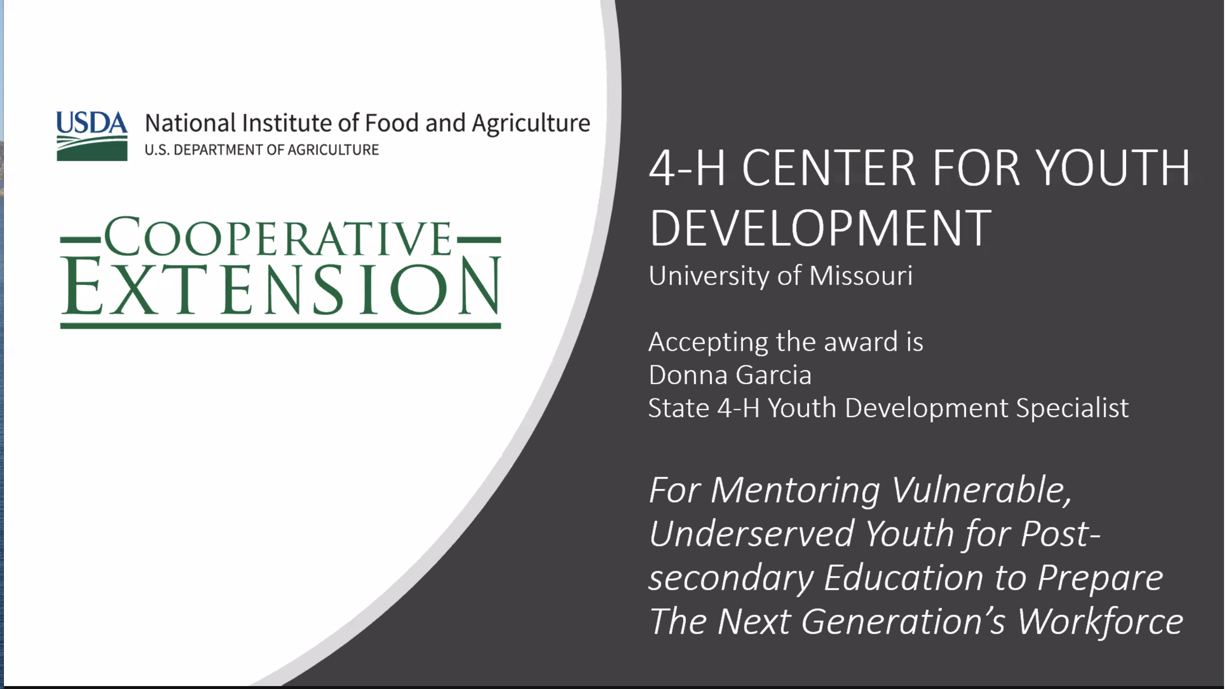 Missouri 4-H received the 2020 National Extension Diversity Award on Oct. 28 for the Youth Futures: College Within Reach program.