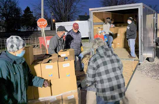 The Monroe City Food Pantry, MU Extension in Monroe County and the North East Community Action Corporation's Monroe County office joined forces to provide food boxes to families in need in Monroe and Shelby counties. Photo courtesy of the Monroe County Ap