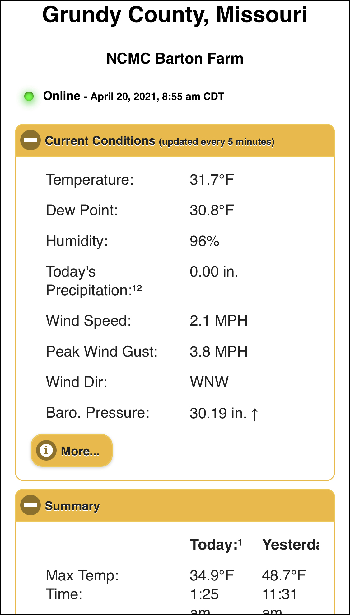 Screenshot of  real-time weather data from Trenton station (mobile).