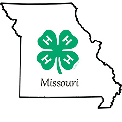 Missouri state outline with Clover logo