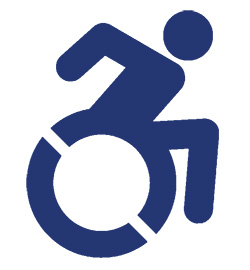 Wheelchair accessibility logo blue