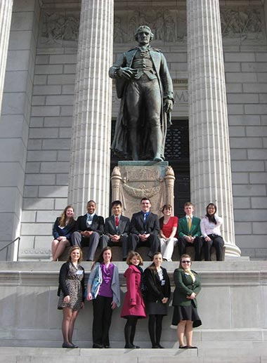 Legislative Academy participants standing outside the Capitol building in Jefferson City, Mo.