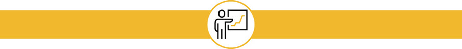 Icon of person standing at flip chart with graph